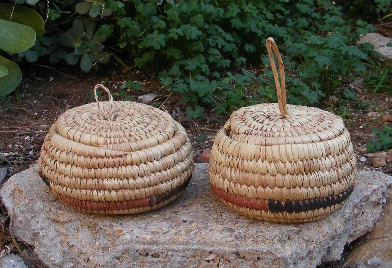 "Tribal Nigerian Basket Set of 2 African Jungle Safari Home Decor 6""x4"""
