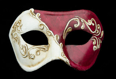 Mask from Venice Colombine Red Antique Paper Chewed- 2164 -V39B