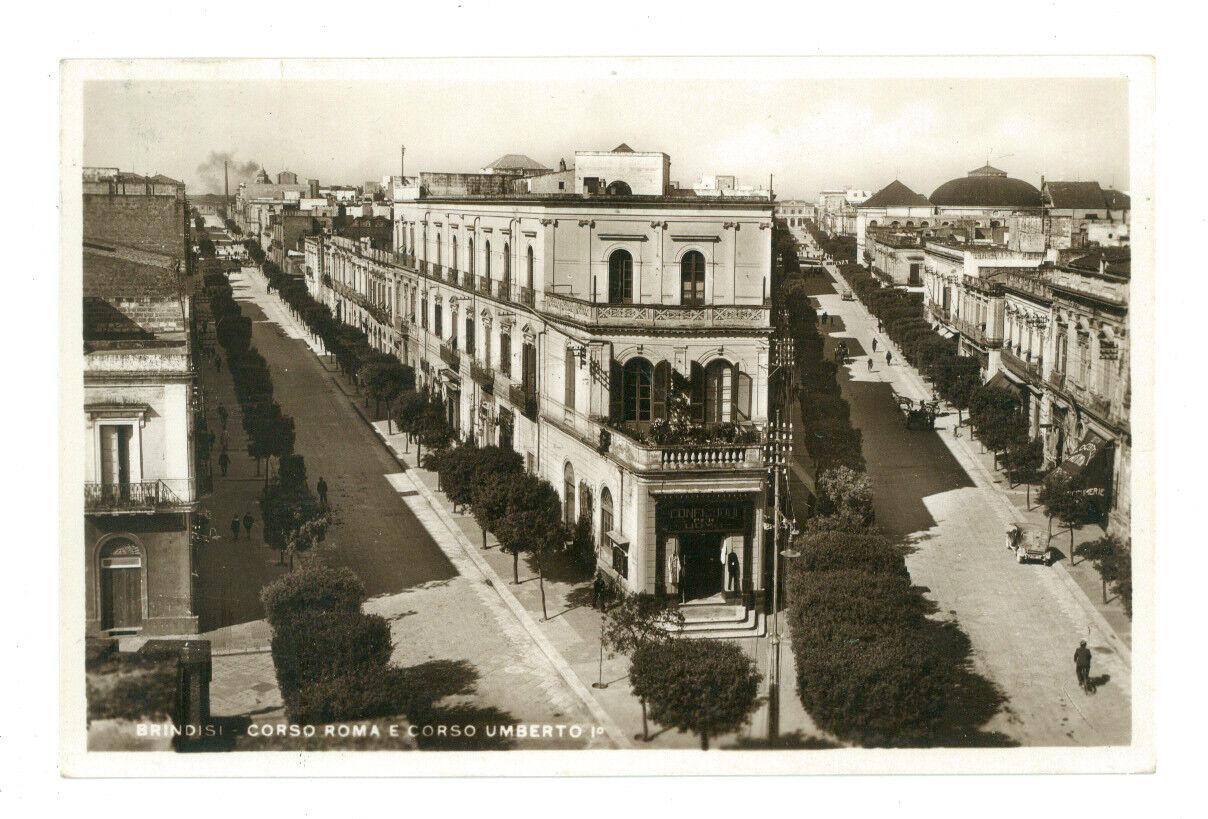 BRINIDISI CORSO ROMA E CORSO UMBERTO I° 1935 VIAGGIATA 1936 PUGLIA ANIMATA