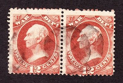 US O89 12c War Department Used Pair w/ Fancy Cancels