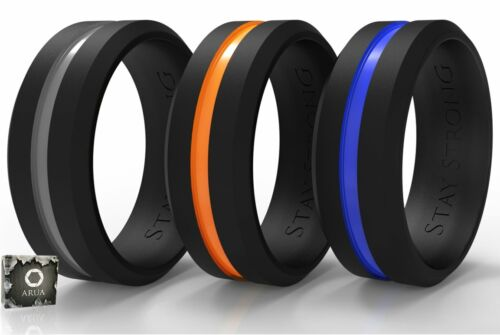 3-Pack Men Silicone Wedding Ring Bands for Sport Outdoor Rub