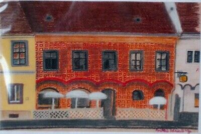 Original soft pastel painting, Budapest building, undamaged in good condition
