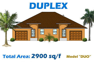 2 900 Sq Ft Custom Duplex Home Plan House Blueprints Complete Set In Pdf New