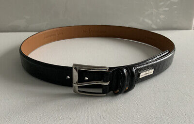 Polo Ralph Lauren Men's 34 Black Alligator Embossed Leather Belt