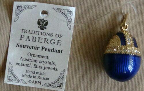 Russian handmade dark blue color acorn shape intricate egg old style pendant #03