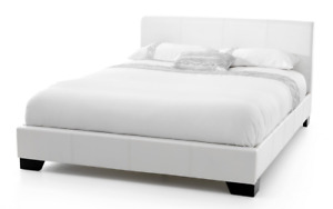 White Faux Leather Queen Bedframe