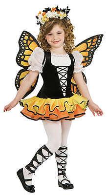 Kinder Mädchen Monarch Schmetterling + Wings Fee Kostüm Kleid Outfit 1-10 Jahre