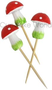 ROBERT GORDON FAIRY SMURF TOADSTOOL MUSHROOM CUPCAKE CUP CAKE MUFFIN TOPPERS 6pc