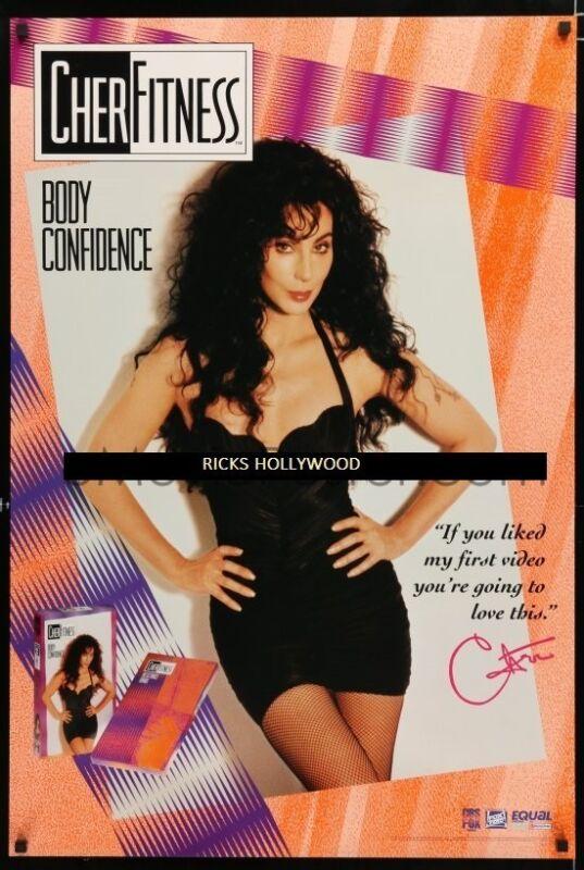 "Original 1992 CHER Cherfitness: Body Confidence Vintage Poster 25 1/2"" X 38"""