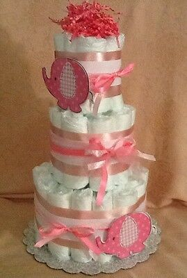 3 Tier Diaper Cake Pink Umbrellaphants Safari Elephants Baby Shower Centerpiece