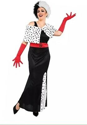 Adult Disney Villians Cruella de Vil Fancy Dress Costume New