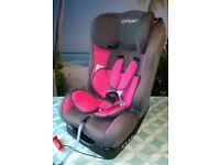 Pamero pink car seat. Rear and forward facing reclining car seat