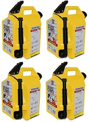 4 Ea Surecan Sur50d1 5 Gallon Diesel Fuel Can W Rotating Flex Spout