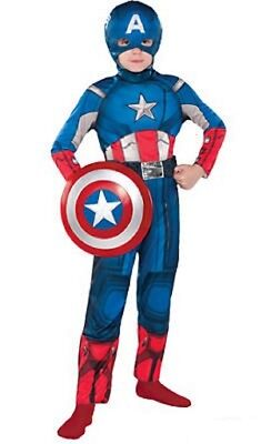 The Avengers Captain America Kinder Kostüm Marvel Comics Größe L 12-14 Nwt (The Avengers Captain America Kostüme)