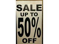Shop sale sign 50% off