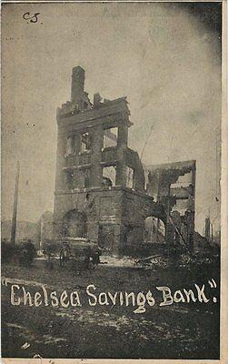 1908 Postcard   Chelsea Savings Bank After Fire   Chelsea Mass
