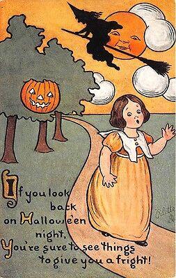 Raphael Tuck Hexe J-O-L Halloween Gedicht Selten Postkarte
