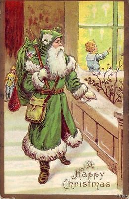 GREEN ROBED SANTA W PRESENTS CHILD IN WINDOW EMBOSSED