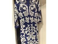 ASOS embellished party dress, sleeves, size 12, new, blue