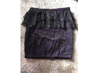 Purple/black pencil skirt