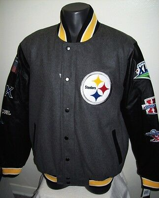 Pittsburgh Steelers 6 Time Super Bowl Championship Wool   Leather Jacket M L