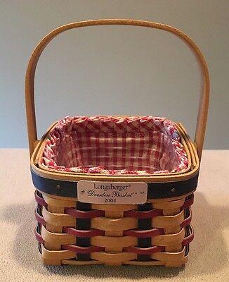 Longaberger 2004 Dresden Basket Fabric Liner & Plastic Protector Excellent!