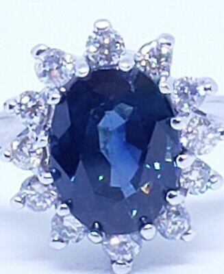 14k white gold blue sapphire and diamond ring-Princess Diana Style- size -