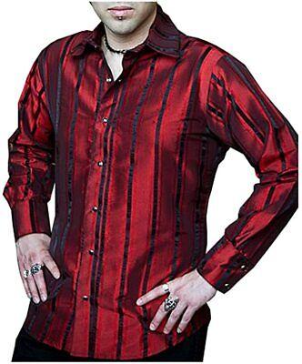 SHRINE CARNY GOTHIC VAMPIRE STEAMPUNK EDWARDIAN VICTORIAN BURGUNDY TAFFETA SHIRT Casual Button-Down Shirts