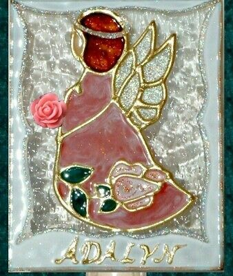 Personalized Pink Guardian Angel Night Light Wall Plug In Decor Stain Art Glass