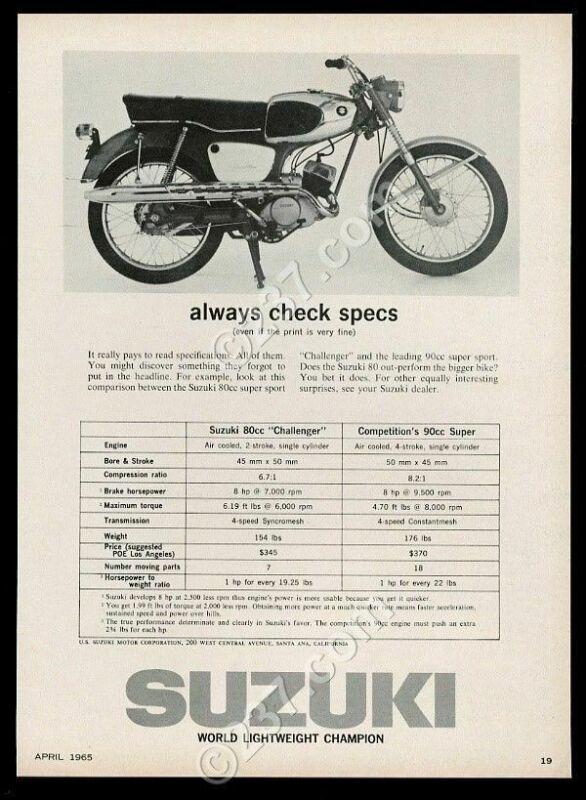 1965 Suzuki Challenger motorcycle photo vintage print ad