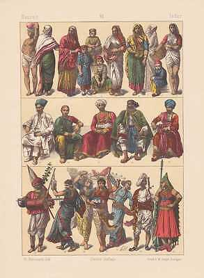 Tracht Von Indien (Indien Inderin Trachten Hindu LITHOGRAPHIE von 1883 Parsen Bajaderen)