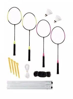 Professional Badminton Set 4 Player Net Racket Shuttlecock Poles Bag Pegs New
