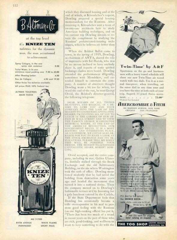 1960 Knize Ten PRINT AD Gentleman