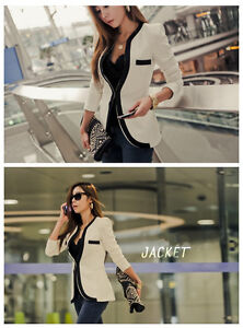 Fashion Womens White Black Colors Slim Suit Blazer Coat Jacket Outerwear New