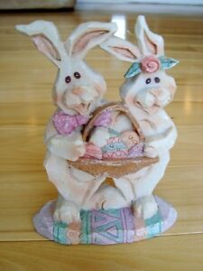 """Polyresin Easter Bunny Duo with Basket of Eggs - 5.5 x4.5"""""""