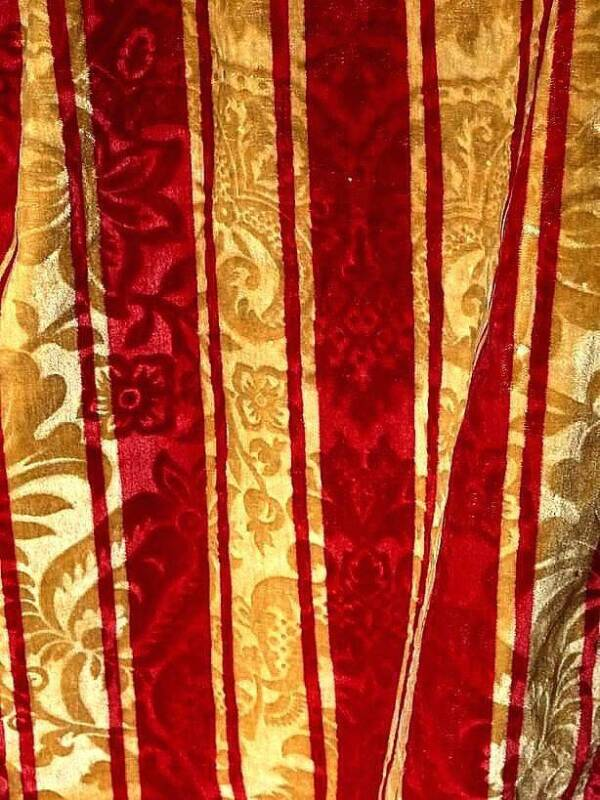 "EARLY 19THC VELVET STRIPED CURTAIN WITH INWOVEN RELIEF FLOWERS & FRINGES 135"" !!"