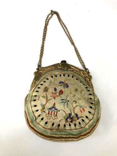 Antique silk embroidered Chinese small purse -lovely!