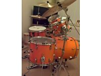 SAKAE DRUM KIT complete with Istanbul traditional cymbal pack, stands, boxed (no stool). As new.