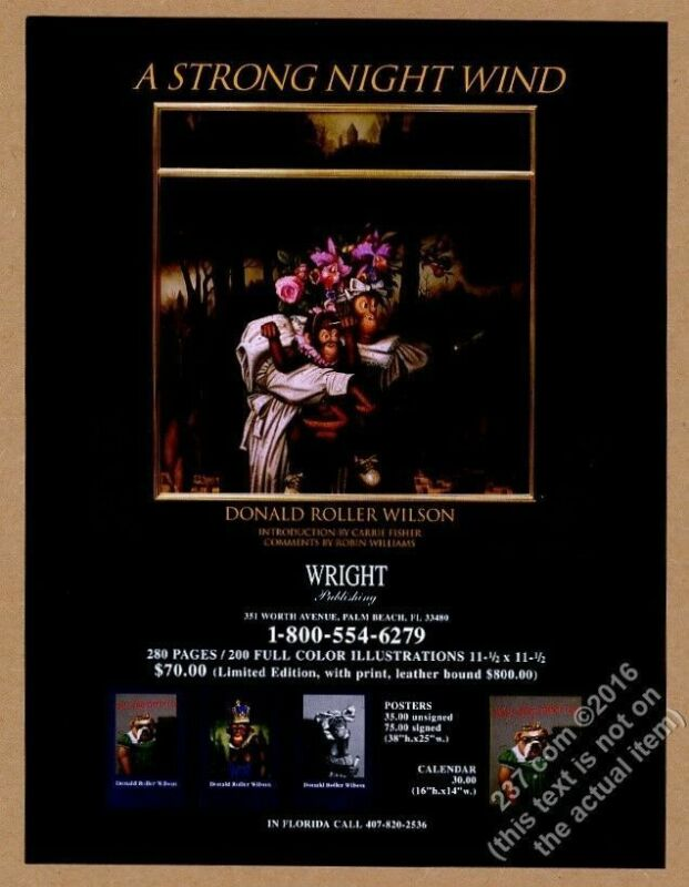 1995 Donald Roller Wilson chimpanzee A Strong Night Wind book release print ad