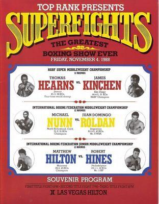 Original Vintage Thomas Hearns vs. James Kinchen Boxing Fight Program Scorebook