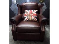 Stunning Chesterfield Thomas Lloyd Wind Back Arm Chair Oxblood Leather - UK Delivery