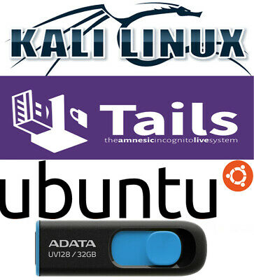 Tails 4.20 Kali 2021.2 Ubuntu 21.04 Multiboot 32 Gb FAST 3.2 Live USB Linux