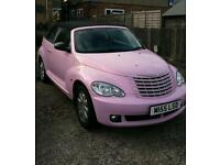 Stunning pink Chrysler PT cruiser convertible, 2007, only 34k miles 9 months mot no advisories