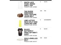 New look women's clothes belts joblot