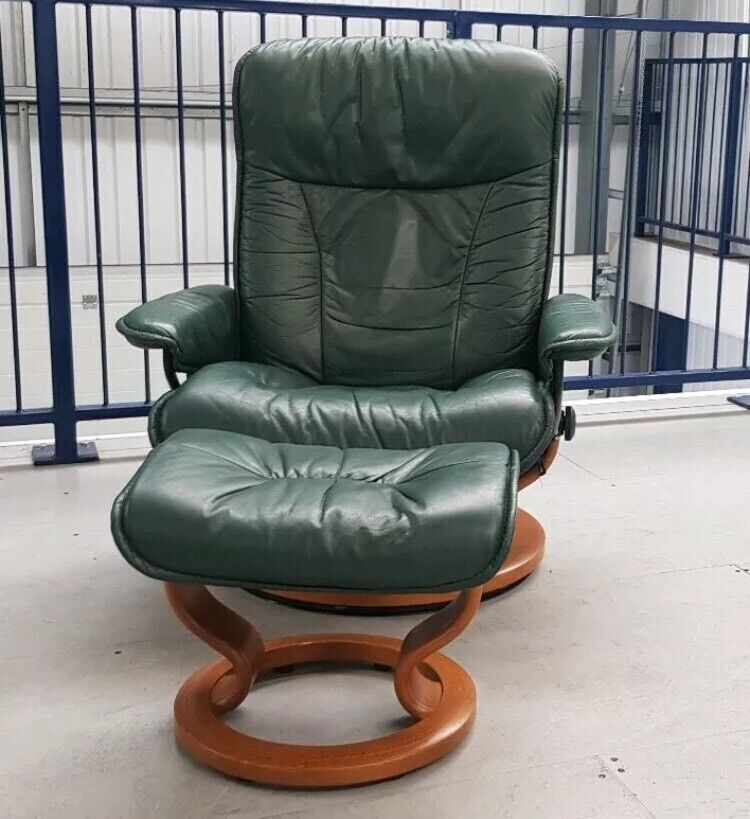Enjoyable Ekornes Stressless Green Swivel Recliner Leather Chair And Foot Stool 0304197 In Leeds West Yorkshire Gumtree Bralicious Painted Fabric Chair Ideas Braliciousco