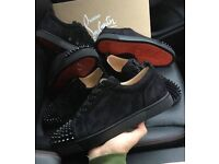 CHRISTIAN LOUBOUTINS IN STOCK SIZE 8&9. LOW SPIKED SUEDE TRAINERS WITH RED BOTTOMS ORIGINAL QUALITY