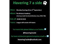 7 a side football league - New teams wanted (league based in Hornchurch/Rainham - Havering, Essex