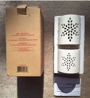 SNOWFLAKE LED CANDLES SET OF 2 New In Box & Discontinued - Snowflake Candles