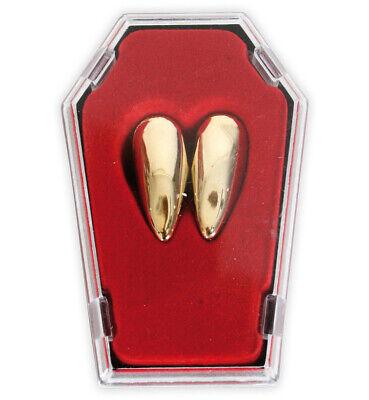 Vampirzähne gold im Sarg Eckzahn Gebiss Dracula ()
