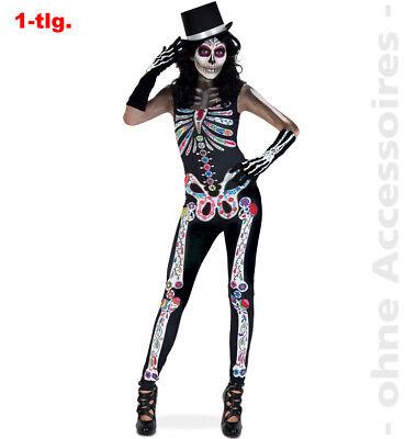 Tag der Toten Overall Halloween Skelett  Jumpsuit Damenkostüm Damen - Tag Der Toten Damen Kostüm